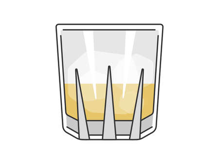 Illustration of rock glass with whiskey Illustration