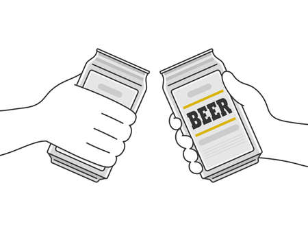 Illustration toasting with canned beer Illustration