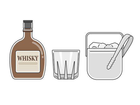 Illustration of whiskey, rock glass and ice bucket