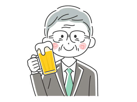 Illustration of elderly businessman drinking beer Illustration