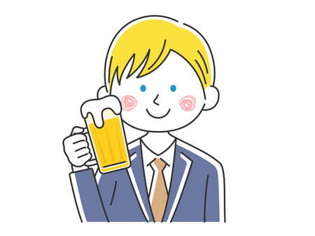Illustration of white businessman drinking beer