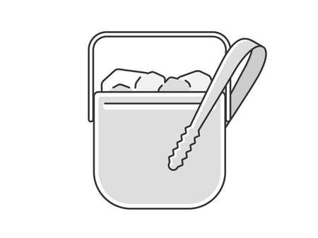 Illustration of ice bucket with ice