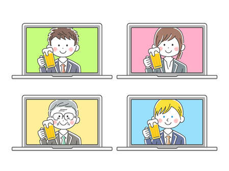 Illustration of businessman drinking online