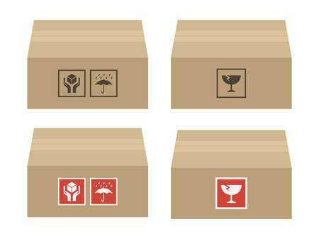 Packed Cardboard Illustration Set