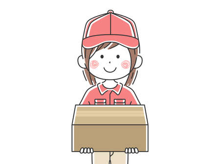 Illustration of a female deliveryman in a courier Ilustrace