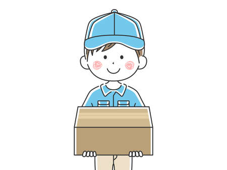 Illustration of a male deliveryman in a courier Ilustrace