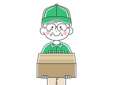 Illustration of an elderly male delivery man Ilustrace