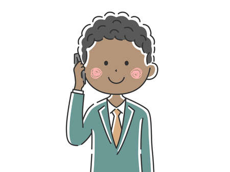 Illustration of a black businessman on the phone