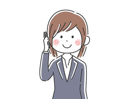Illustration of a businesswoman making a phone call