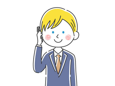 Illustration of a white businessman on the phone