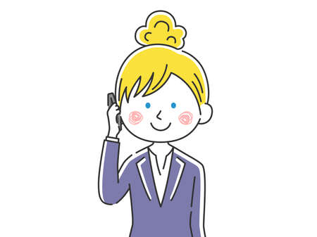Illustration of a white businesswoman on the phone