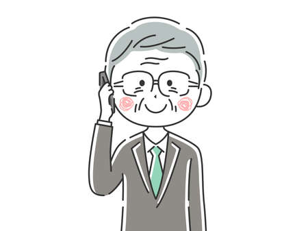 Illustration of an elderly businessman on the phone