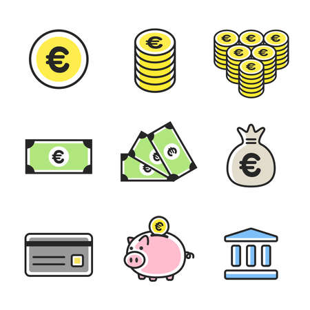 Financial Icon Set Ilustrace