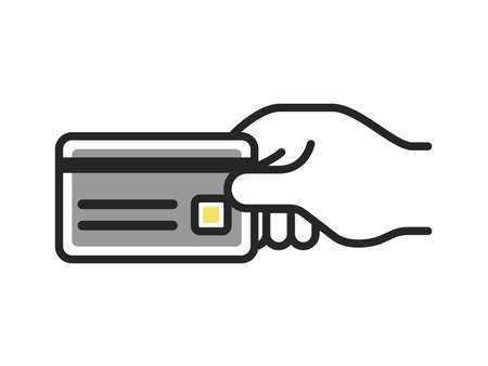 Hand icon illustration with credit card