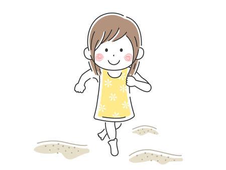 Illustration of girl running in swimsuit on sandy beach