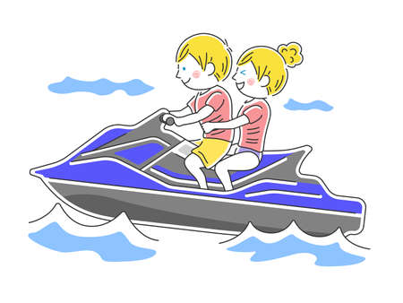 Illustration of a water bike rider