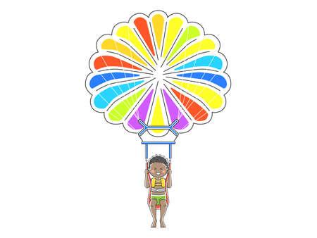 Illustration of a man parasailing