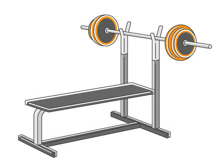 Illustration of sports gym bench press stand