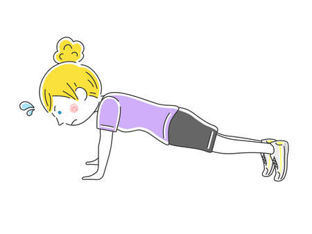Illustration of a woman in push-ups