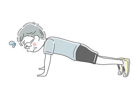 Illustration of an elderly man with push-ups Ilustración de vector
