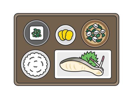 Illustration of grilled fish set meal
