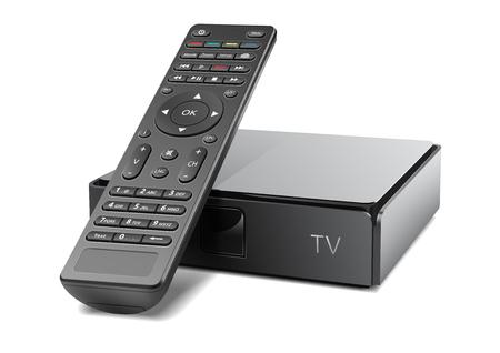 Remote control tv console. Back vector, white background. Illustration