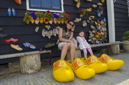 volendam: People in wooden shoes Stock Photo