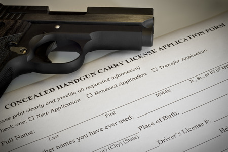 gun: Concealed Handgun Permit Application Stock Photo