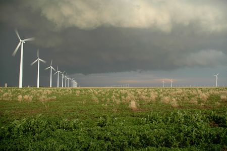 Wind farm in the central united states. Stock Photo