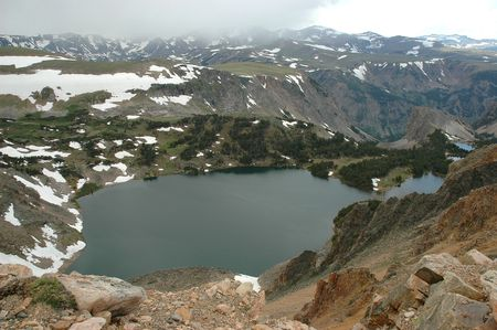 elevation: A high elevation lake in the Shoshone National Forest.