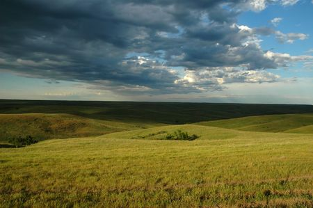 A scenic landscape view from the high plains of South Dakota.