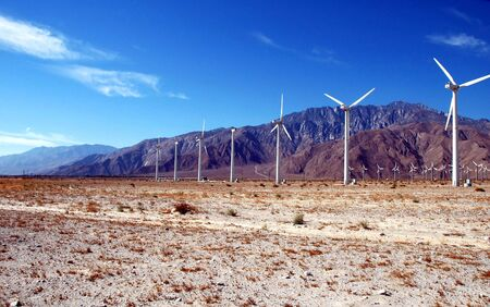 A wind farm photographed in the Mojave desert of southern California. Stock Photo