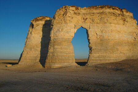 The chalk Pyramids are an unusual mineral formation in western Kansas. Stock Photo