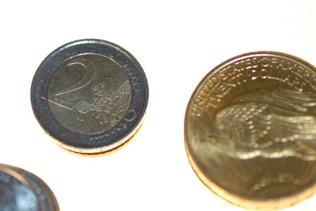 gold standard: The Euro stacked against the gold standard coin.