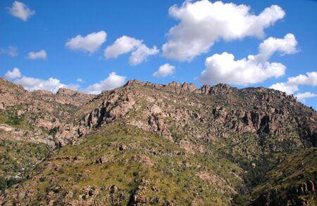 A landscape view of the unique Arizona mountain ranges.