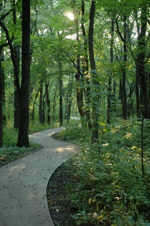 A paved trail running through Burr Oak Woods in Blue Springs, Missouri. Stock Photo