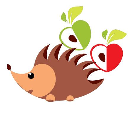 Hedgehog with apple illustration Vector