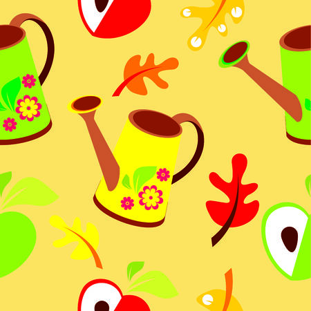 wallpapper: Seamless pattern of poly-roll, apple and leaves on yellow background - vector illustration