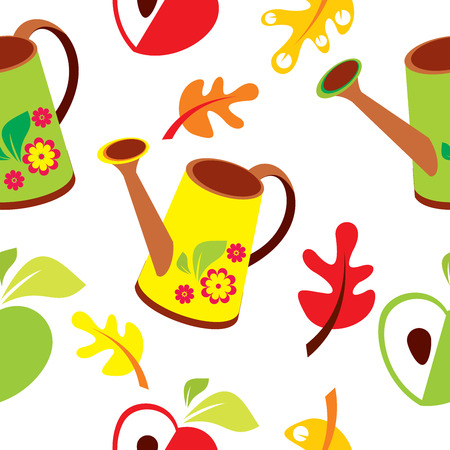 wallpapper: Seamless pattern di poli extra, mela e foglie su sfondo bianco - illustrazione vettoriale Vettoriali
