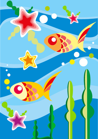 Underwater fishes - vector illustration Ilustração