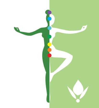 Woman in a balance position - vector illustration Vector
