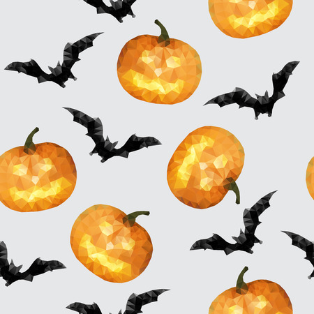 Seamless with pumpkin and bat halloween background - vector illustration Vector