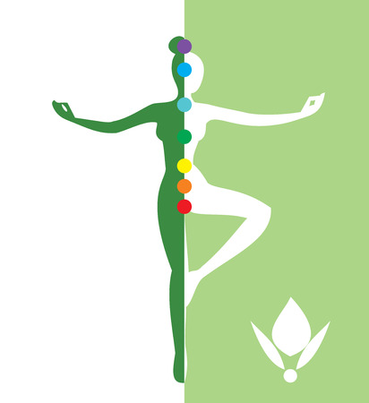 Woman in a balance position - vector illustration Illustration