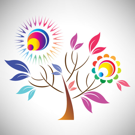coloful: Vector illustration of beautiful abstract coloful tree with sun