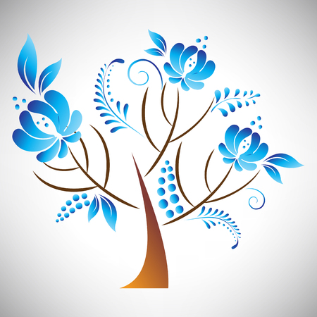 isolated tree: Vector illustration of abstract beautiful tree with blue floral element in Russian gzhel style leaf