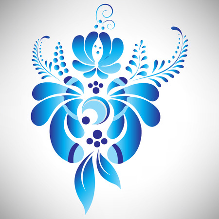 gzhel: Abstract beautiful blue floral element in Russian gzhel style for your design. Vector illustration