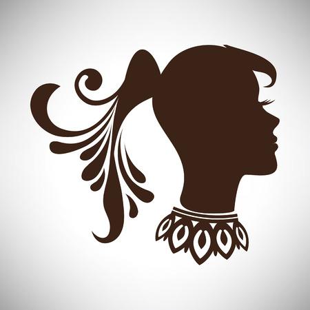 cola mujer: Ilustración vectorial de abstracta hermosa silueta de la mujer india en el perfil con la cola y collar Vectores