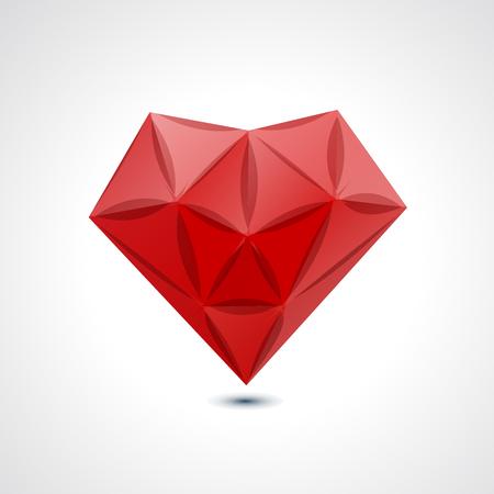 crystal heart: Abstract red geometric crystal heart - vector illustration Illustration