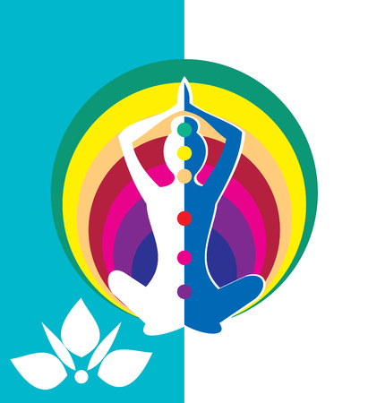 mind body soul: Woman sitting in yoga position with circle - vector illustration