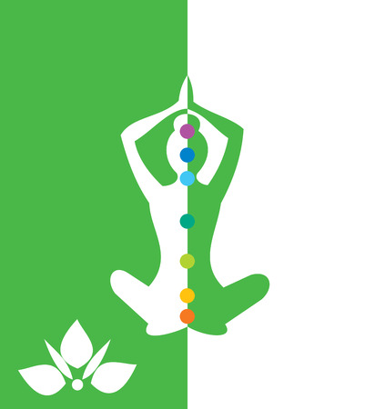 mind body soul: Woman sitting in yoga position - vector illustration